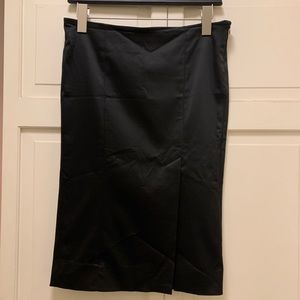Bebe satin pencil skirt with slit